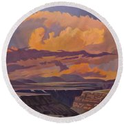 Taos Gorge - Pastel Sky Round Beach Towel by Art James West