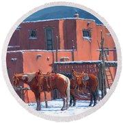 Taos Horses Round Beach Towel