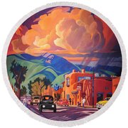 Taos Inn Monsoon Round Beach Towel by Art James West