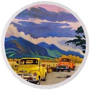 Taos Joy Ride With Yellow And Orange Trucks Round Beach Towel by Art West