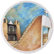 Taos Pueblo New Mexico - Watercolor Art Round Beach Towel by Art America Gallery Peter Potter