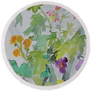 Round Beach Towel featuring the painting Taos Spring by Beverley Harper Tinsley