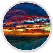 Taos Sunset Iv Round Beach Towel
