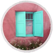 Round Beach Towel featuring the photograph Taos Window I by Lanita Williams