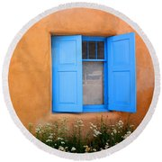 Round Beach Towel featuring the photograph Taos Window V by Lanita Williams