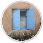 Round Beach Towel featuring the photograph Taos Window Vi by Lanita Williams