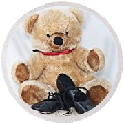 Tap Dance Shoes And Teddy Bear Dance Academy Mascot Round Beach Towel