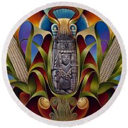 Tapestry Of Gods - Chicomecoatl Round Beach Towel