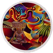 Tapestry Of Gods - Huehueteotl Round Beach Towel