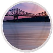 Tappan Zee Bridge Sunset Round Beach Towel