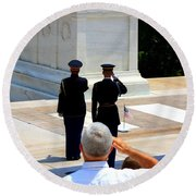 Taps At The Tomb Of The Unknown Round Beach Towel by Patti Whitten