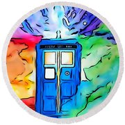 Tardis Illustration Edition Round Beach Towel