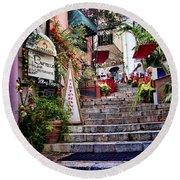 Taormina Steps Sicily Round Beach Towel by David Smith