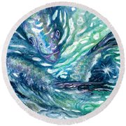 Tarpon Frenzy Round Beach Towel