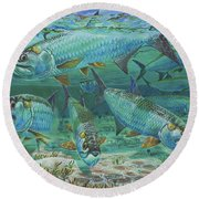 Tarpon Rolling In0025 Round Beach Towel