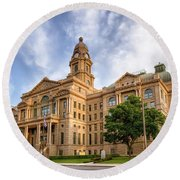 Tarrant County Courthouse II Round Beach Towel