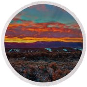 Taos Sunrise Round Beach Towel