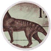 Tasmanian Tiger Vintage Postage Stamp Round Beach Towel by Andy Prendy