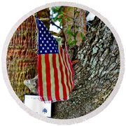 Tattered America Round Beach Towel by Patricia Greer