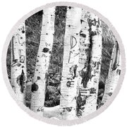 Tattoo Trees Round Beach Towel