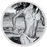 Round Beach Towel featuring the photograph Ms Turkey Tatyana Running Wild In The Ocean Waves - Glamor Girl Photo Art by Amyn Nasser