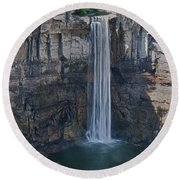 Taughannock Falls  0453 Round Beach Towel by Guy Whiteley