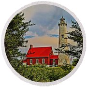 Tawas Point Light Retro Mode Round Beach Towel by Daniel Thompson