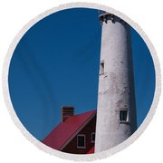 Round Beach Towel featuring the photograph Tawas Point Lighthouse by Patrick Shupert