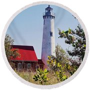 Round Beach Towel featuring the photograph Tawas Point Lighthouse...from Tawas Bay Side by Daniel Thompson