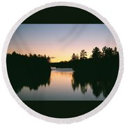 Tea Lake Sunset Round Beach Towel