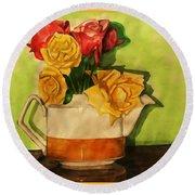 Tea Roses Bordered Round Beach Towel