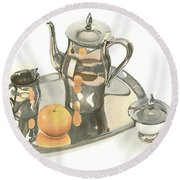 Round Beach Towel featuring the painting Tea Service With Orange by Kip DeVore