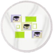 Tea Time Round Beach Towel
