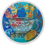 Round Beach Towel featuring the painting Tea With Biscuit by Robin Maria Pedrero
