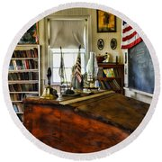 Teacher - Vintage Desk Round Beach Towel by Paul Ward
