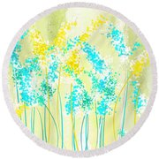 Teal And Graces Round Beach Towel