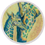 Teal Giraffes Round Beach Towel