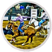 Team Ropers Round Beach Towel