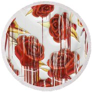 Round Beach Towel featuring the digital art Tear-stained Roses by Liane Wright