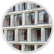 Round Beach Towel featuring the photograph Technocratic Windows by William Selander