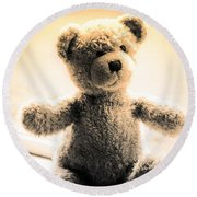 Round Beach Towel featuring the photograph Teddy B by Aaron Berg