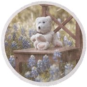 Teddy Bear And Texas Bluebonnets Round Beach Towel