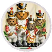 Teddy Bear Band Round Beach Towel