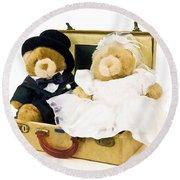Teddy Bear Honeymoon Round Beach Towel