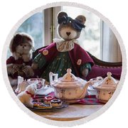 Round Beach Towel featuring the photograph Teddy Bear Tea Party by Patricia Babbitt