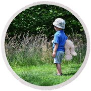 Round Beach Towel featuring the photograph Teddy Bear Walk by Keith Armstrong