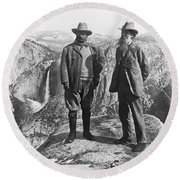 Teddy Roosevelt And John Muir Round Beach Towel