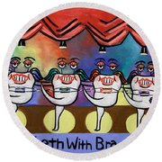 Round Beach Towel featuring the painting Teeth With Braces Dental Art By Anthony Falbo by Anthony Falbo