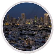 Tel Aviv At The Twilight Magic Hour Round Beach Towel