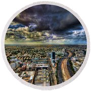 Round Beach Towel featuring the photograph Tel Aviv Blade Runner by Ron Shoshani